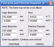 Estimate the effective diameter and area of an oval driver.