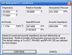 Set Atmospheric Conditions dialog